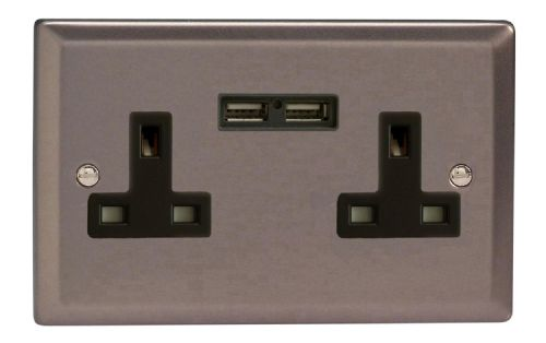 Varilight XR5U2B Classic Pewter 2 Gang Double 13A Unswitched Plug Socket 2.1A USB